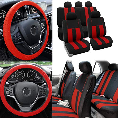 FH Group Striking Striped Seat Covers Airbag & Split Ready w. Silicone Steering Wheel Cover, Red/Black Color- Fit Most Car, Truck, SUV, or Van