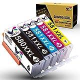 ONLYU PGI-580XXL CLI-581XXL Cartucce di inchiostro compatibili per Canon PIXMA TS6150 TS6151 TS6250 TS6251 TS8150 TS8151 TS8250 TS8251 TS8252 TS8350 TS9150 TR7550 TS705 TR8550 TS9550(confezione da 5)