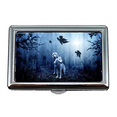 Cigarette Holder Case,Wolf Forest Autumn Dark Predator Animal Hunter,Business Card Holder Business Card Case Stainless