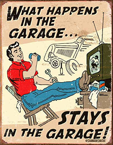 Schonberg - Happens in Garage Tin Sign 12 x 16in