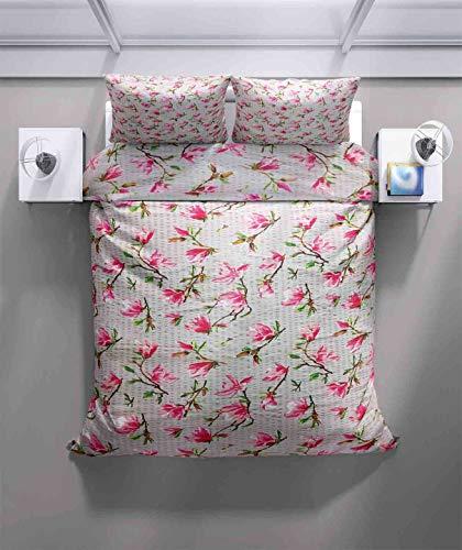 Juego de ropa de cama Seersucker de funda nórdica y fundas de almohada con cierre de botones – 2 piezas (1 funda nórdica de 140 x 200 cm y 1 funda de almohada de 70 x 90 cm)