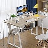 KaminHome - Mesa Escritorio despacho Joanna Oficina hogar Ordenador PC portátil Trabajo Estudio Estilo nórdico escandinavo Moderno (Roble/Blanco (con estantería), 100 cm)