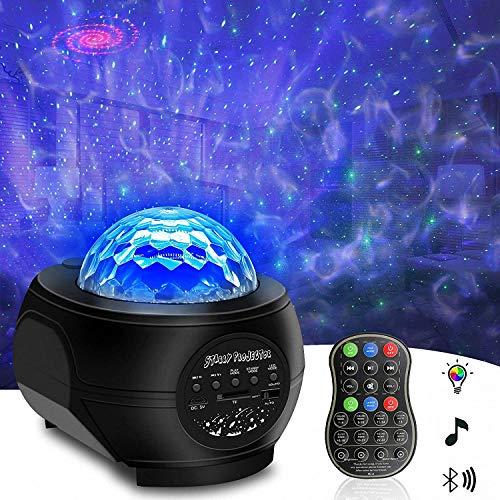 Sternenhimmel Projektor, MORFIT Projektorlampe Discokugel mit Nebel Wolke Ocean Wave, Eingebauter Musiklautsprecher, Sprachsteuerung und Timer, Geschenke für Kinder Mädchen, Baby
