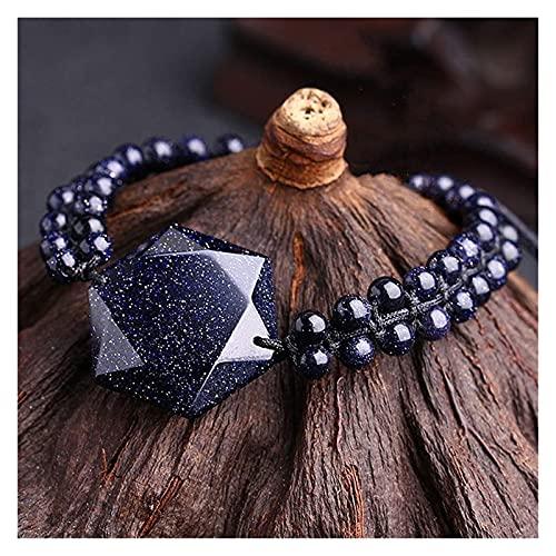 Pulsera de arenisca azul de David Pulsera Hexagrama amuleto piedras preciosas afortunadas encantos afortunados Curación CRISTAL CRISTAL Joyas ajustables Atraer regalo de Brazalete Lucky para mujeres /