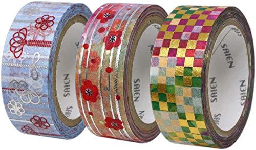 カミイソ 日本製 和紙 マスキングテープ SAIENオリジナル 3巻 (格子柄・組紐・トワイニング) セット 幅15mm×7m巻 デザインテープ リメイク アレンジ UR-1032