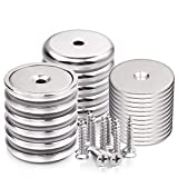 LOVIMAG Neodymium Cup Magnets with 95 LBS Pull Capacity Each - Dia 1.26' - w/Matching Strikers and Screws - Strongest Round Base Magnets