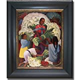 Artistic Home Gallery The Flower Vendor by Diego Rivera Premium Black & Gold Framed Canvas (Ready-to-Hang)