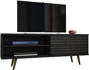 Manhattan Comfort Liberty Mid-Century Modern Television Stand, Medium, Black
