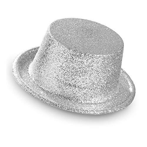 WIDMANN 28052–Glitter Cilindro cappello per adulti, taglia unica