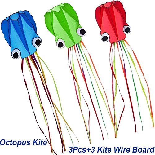 Milky House 3 Pack Octopus Kite, 3D Kite Long Tail Easy Flyer Kites Beach Kites Kids Adults Gift 3 Colors (Blue Green Red)