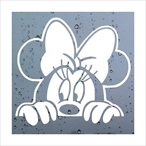 Platinium Place - Pegatina para coche con diseño de Minnie, Mickey, blanco, vinilo decorativo para la ventana, el parachoques, la carrocería, ideal como regalo