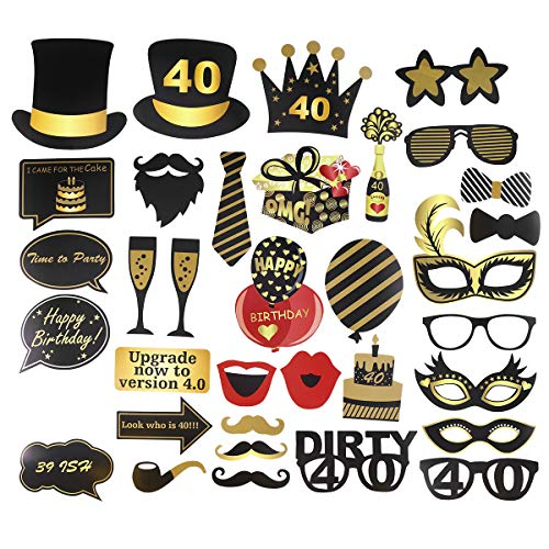 Amosfun Fotorequisiten Fotoaccessoires 40.Geburtstag Jahrestag Zylinde Maske Brille Party Fotobooth Zubehör Dekoration 35 Stück
