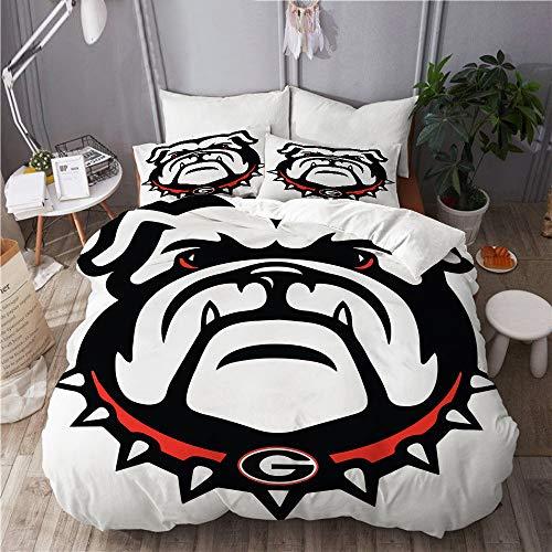 MIGAGA Duvet Cover Set, Georgia Bulldogs, Decorative 3 Piece Bedding Set with 2 Pillow Shams