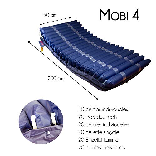 Mobiclinic, Mobi 4, Colchón antiescaras con motor compresor, de aire alternante, para escaras de grado I, II, III y IV, 20 celdas de aire, Marca Española, TPU Nylon, 200 x 90 x22, 20 celdas, Azul