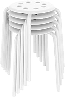 Yaheetech 17.3in Plastic Stack Stools Kids Children Stools for Classroom Backless Round Top Bar Stools Kitchen Home Garden Living Room Dining Room Pack of 5 White
