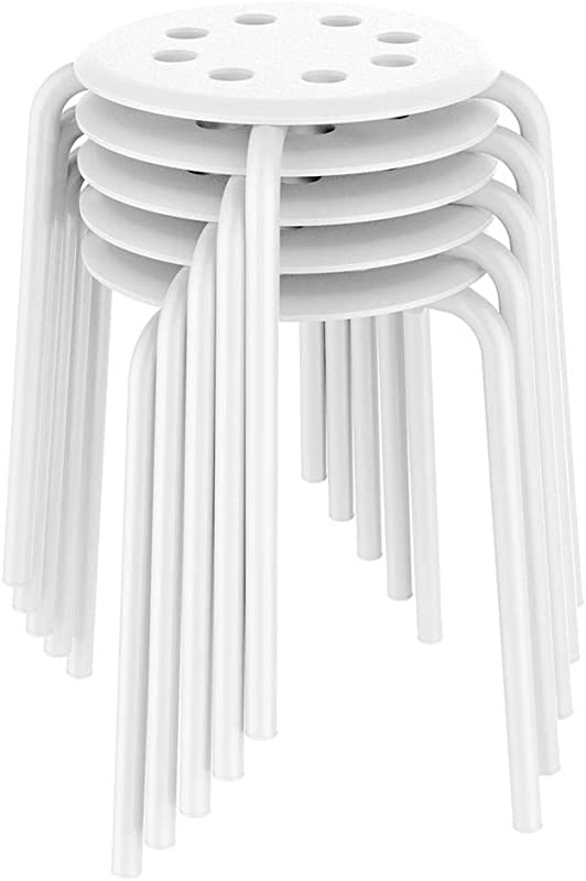 Yaheetech 17 3in Plastic Stack Stools Kids Children Stools For Classroom Backless Round Top Bar Stools Kitchen Home Garden Living Room Dining Room Pack Of 5 White