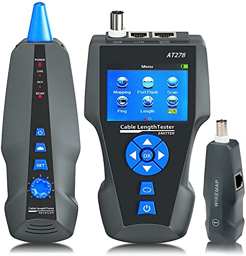 NOYAFA Network Cable Tester,AT278 TDR Multi-functional LCD Tracker For RJ45, RJ11, BNC, Metal Cable,PING/POE NF-8601S