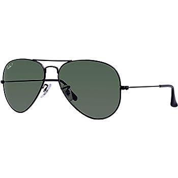 Ray Ban RB3025 Aviator Sunglasses Unisex (55 mm Frame Black Polarized Solid Lens, 55 mm Frame Black Polarized Solid Lens), Black Frame Polarized Black Lens, Medium