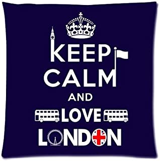 bikini bags Keep Calm and Love London UK Flag Big Ben London Bus Elements Pillow Throw Pillow Covers Pillow Inner Included Soft Bedding 18x18 (Two Side)