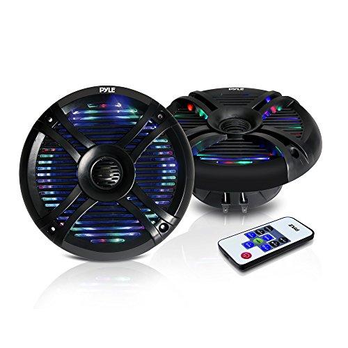 """6.5"""" Dual Waterproof Marine Speakers - 250W Outdoor Car/Boat Radio Stereo Speakers Waterproof/Weather Proof Marine Stereo Speakers System Pair LED Mount Speaker Wire Grill - Pyle PLMRX68LEB (Black)"""