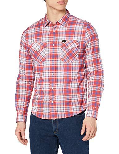 Lee Clean Western Shirt Chemises, Aurora Red, XL Homme