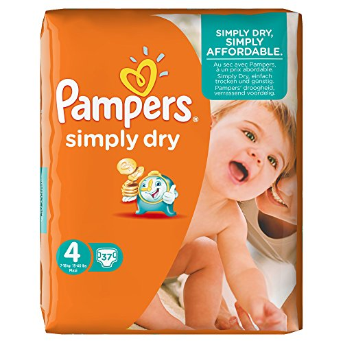 Pampers Simply Dry - Pañales (talla 4, 7-18 kg, 1 paquete de 37 unidades)