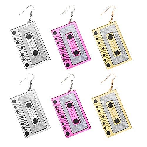3 Paare Retro Kassette Ohrhänger Punk Tape Ohrringe Kassette Baumeln Ohrhänger für Damen Mädchen Mixtape 80s Bronze Ohrringe für die 80er Jahre Themenparty Weihnachtsgeschenk