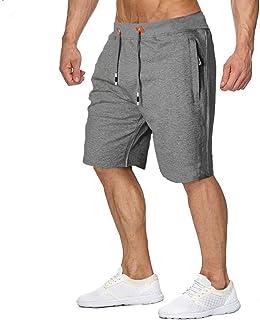 MANSDOUR Men's Workout Shorts Casual Cotton Elastic Sport Running Shorts with Zipper Pocket