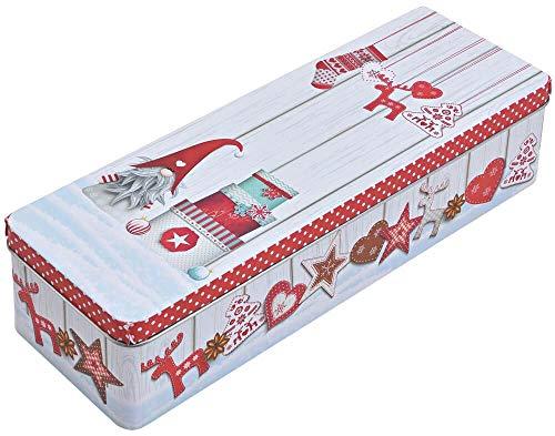 matches21 Blechdose Plätzchendose Keksdose Motiv Wichtel mit Geschenken Metall Vorratsdose & Deckel 1 Stk bunt 29x10 cm