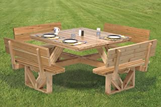 square picnic table with benches plans