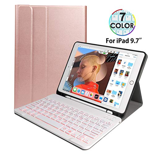Ipad Keyboard Case 9.7,Backlit Magnetic Detachable Wireless Bluetooth Keyboard with Pencil Holder for Apple iPad 9.7 Inch 2018 (6th Gen)/iPad 9.7 Inch 2017 (5th Gen)/iPad Pro 9.7/iPad Air 2/iPad Air 1