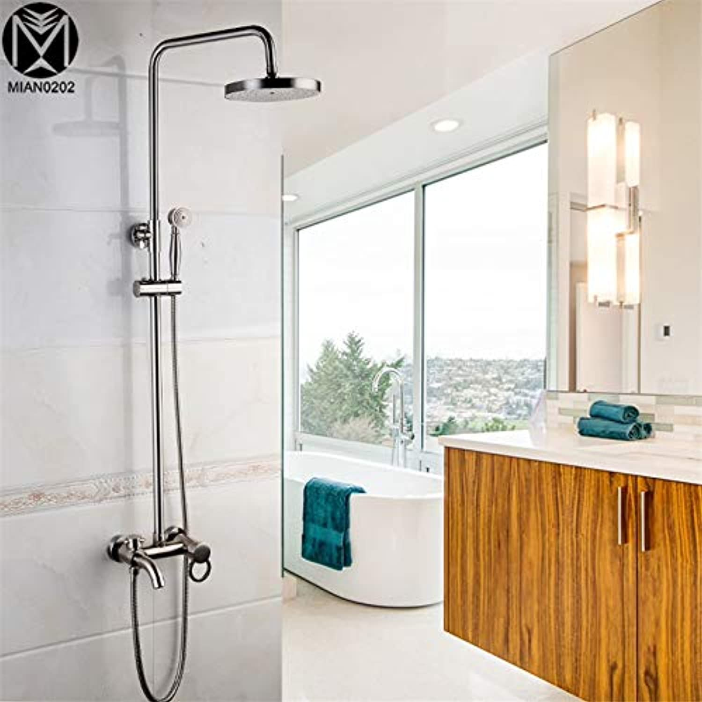 Badthroom Duschset Luxus Einhand-Duschset aus gebürstetem Nickel Torneira Regenduschkopf Badarmaturen Mischbatterie