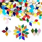 Allazone Tessere per Mosaic Tessere Mosaico Vetro Colorato Colori Assortiti Mosaico Fai da Te Pezzi di Vetro Colorato per Artigianato, Decorazione Domestica, Piatti, Cornici, 11 x 11MM, Diamante