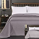 DecoKing Tagesdecke 260 x 280 cm Stahl anthrazit grau Silber Bettüberwurf zweiseitig leicht zu pflegen Axel