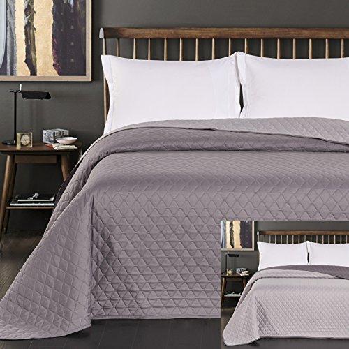DecoKing Tagesdecke 220 x 240 cm Stahl anthrazit grau Silber Bettüberwurf zweiseitig pflegeleicht Axel