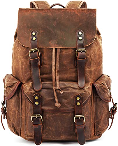 Waxed Canvas Leather Backpack for Men, HuaChen Travel Rucksack for...