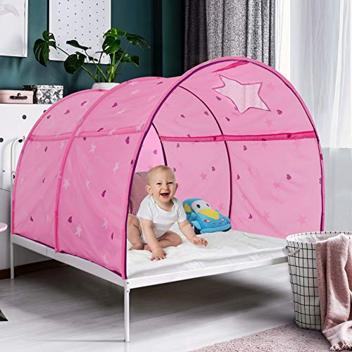 Alvantor 2014 Starlight Bed Canopy Dream Kids Play Tents Playhouse Privacy Space Twin Sleeping Indoor Grow in The Dark Stars Boys Girls Toddlers Pop Up Portable Frame Curtains Pink, Patent