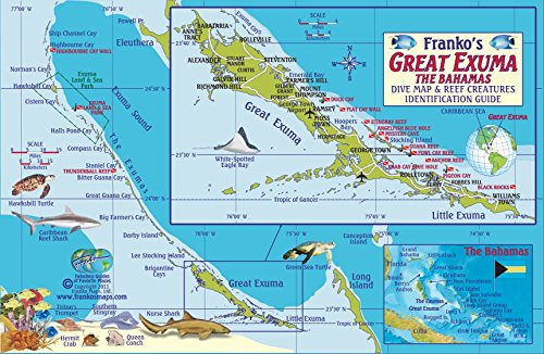 Great Exuma Bahamas Dive Map & Reef Creatures Guide Franko Maps Laminated Fish Card