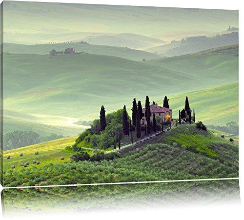 Wunderschöne Toskana Landschaft Format: 60x40 auf Leinwand, XXL riesige Bilder fertig gerahmt mit Keilrahmen, Kunstdruck auf Wandbild mit Rahmen, günstiger als Gemälde oder Ölbild, kein Poster oder Plakat