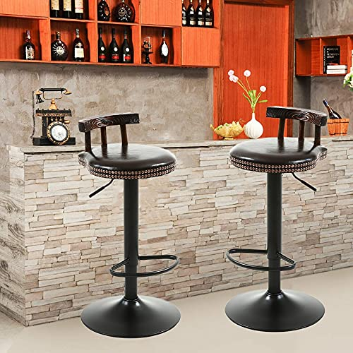 Set di 2 Sgabelli da Bar, con Sedili in Pelle Cerata A Olio Sgabelli da Cucina Girevoli, Altezza Regolabile, Solido Telaio Rotondo (Color : G)