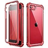 Dexnor Funda para iPhone SE 2020/8/7 (4.7'') Carcasa con Parachoques de TPU de 360 Grados, [A Prueba de Golpes] [Ligero] PC Panel Posterior Transparente, Protector de Pantalla Incorporado - Rojo