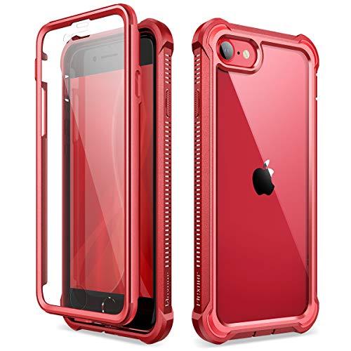 Dexnor Cover Compatibile con iPhone SE 2020/8/7 (4.7'') Cassa, TPU Custodia di Protezione a 360 Gradi, [Antiurto] [Leggero] PC Pannello Posteriore Trasparente, con Protezione per Lo Schermo - Rosso