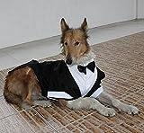 Evursua Large Dog Tuxedo Wedding Party Suit,Dog Costumes for Large Dogs Golden Retriever Samo Bulldogs,Gentleman Dog Attire with Bowite (Black, L)