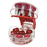 Cherry Stoner Remover,Cherry Seed Remover Multi Cherry Ppitter Cherry Stone Seed Removal Core Easy Squeeze with Grip 6 Cherries Pitter Red