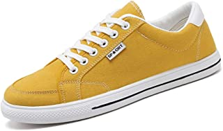 Shangruiqi Fashion Sneakers for Men Casual Skater Sports Shoes Low Top Lace Up Stitch Canvas Walking Shoes Round Toe Comfortable Anti-Wear (Color : Yellow, Size : 6 UK)