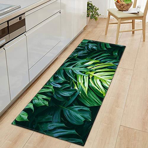 Felpudo de Cocina 3D Hierba Verde Estampado de bambú Alfombra de Piso Pasillo Sala de Estar Balcón Alfombra de baño Alfombras Antideslizantes Alfombra de baño 40x120cm