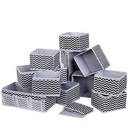 DIMJ 12 Stück Aufbewahrungsbox Organizer faltbar Unterwäsche Socken Stoff Organizer für Schubladen Schrank Tische Ordnungssystem (Hellgrau)