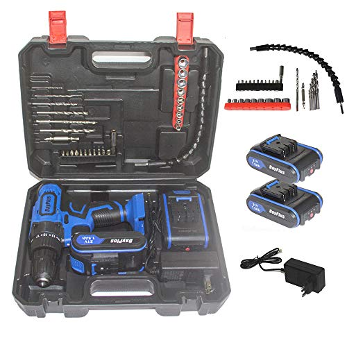 Cordless Drill Driver Kit, 21V Max Drill with 2Pcs 1.5Ah Batteries and 1 Fast Charger, 450 In-lbs Torque, 3/8' Keyless Metal Chuck, 2-Variable Speed for Drilling Wood, Metal, Concrete