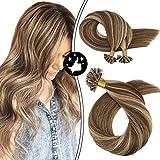 Moresoo 16Pulgadas U Tip Hair Brown/#4 Fading to Caramel Blonde/#27 Straight Pre Bonded...