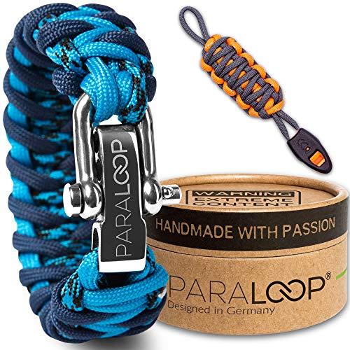 PARALOOP Pulsera de paracaídas para hombre + llavero con silbato de señalización trenzado, hecha a mano, con caja de regalo, cierre de acero inoxidable, diseño de camuflaje, color azul